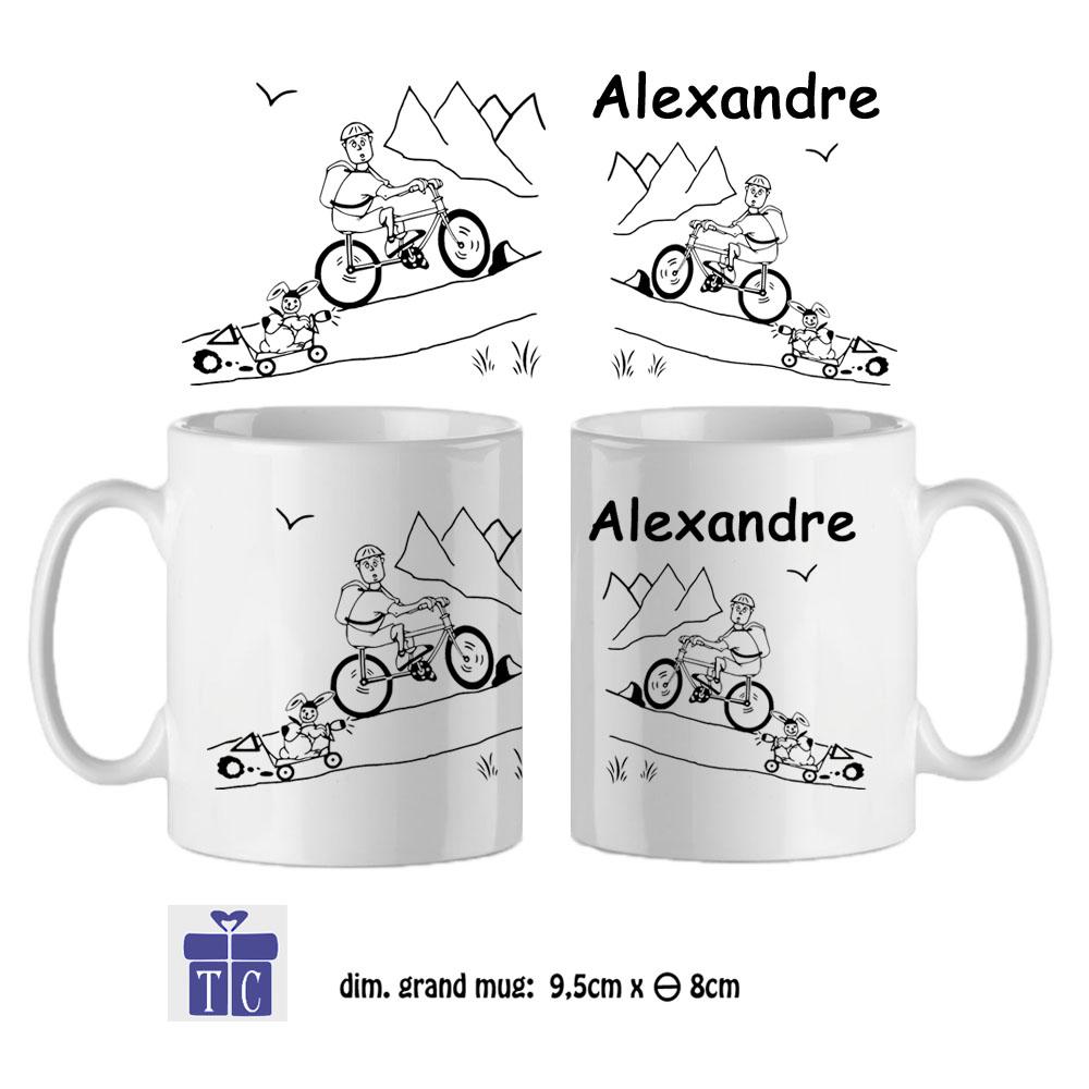 Mug Vélo-personnalisé avec un prénom exemple Alexandre