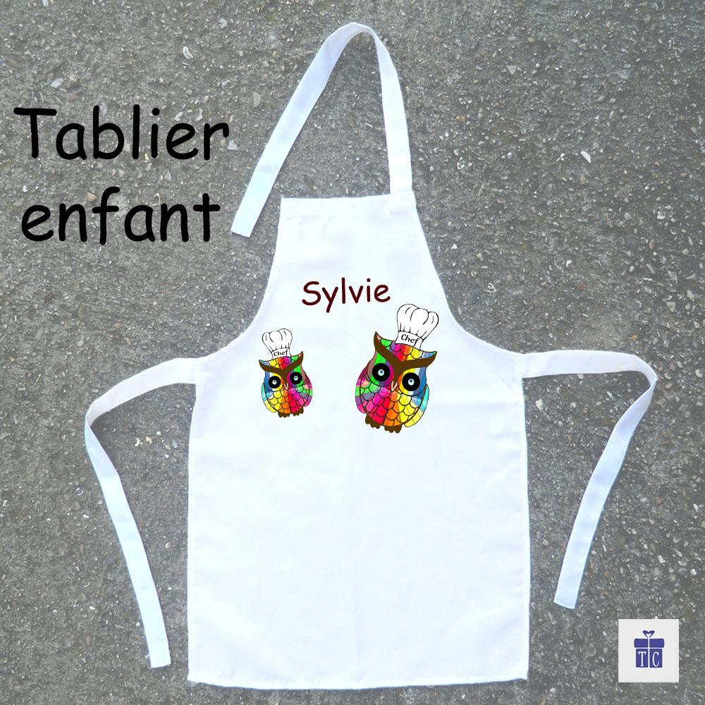Tablier de cuisine enfant Chouette multicolore à personnaliser