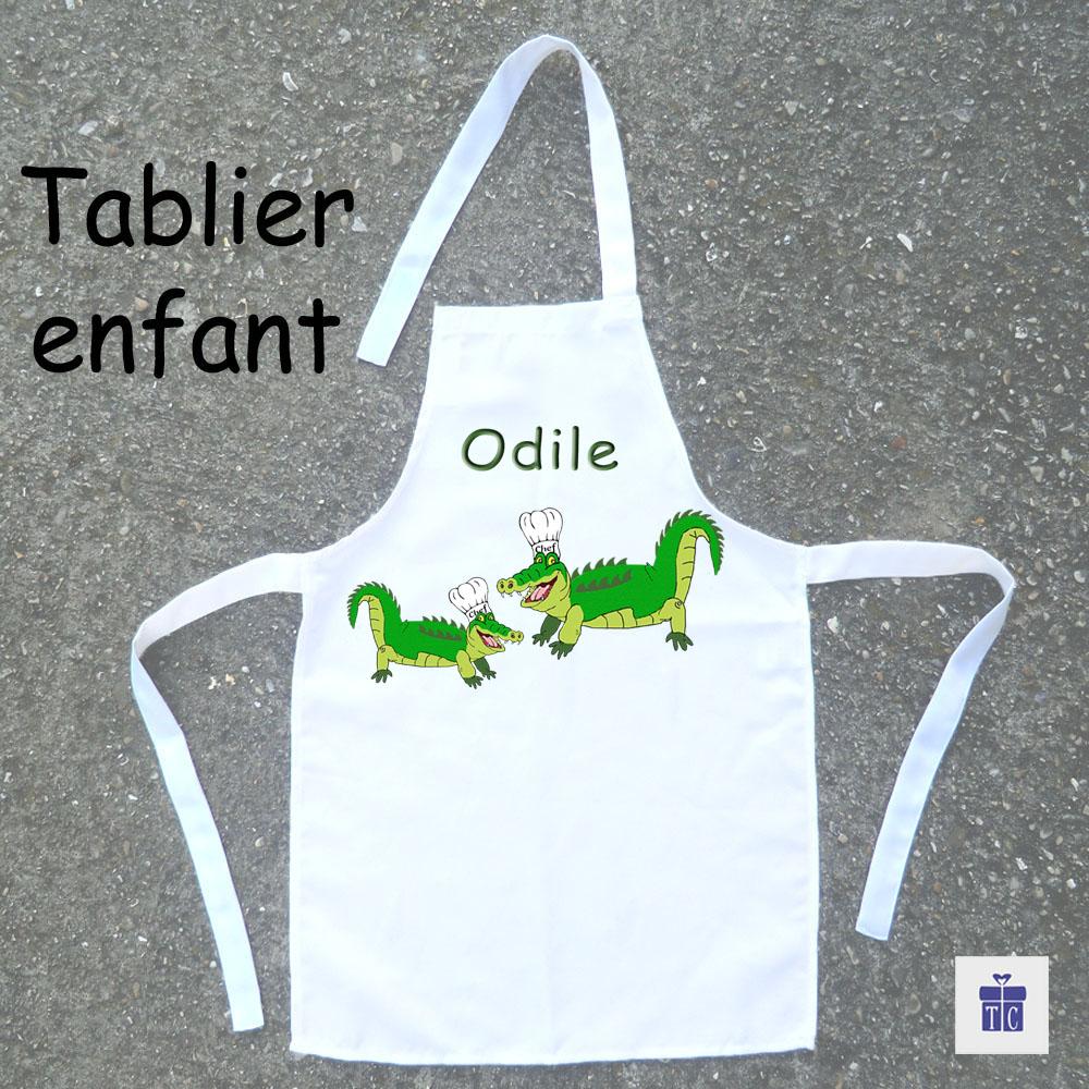 Tablier de cuisine enfant Crocodile à personnaliser