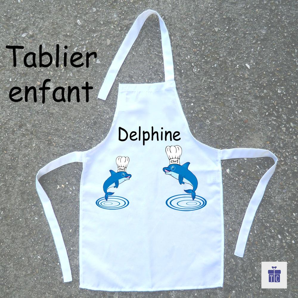 Tablier de cuisine enfant Dauphin à personnaliser
