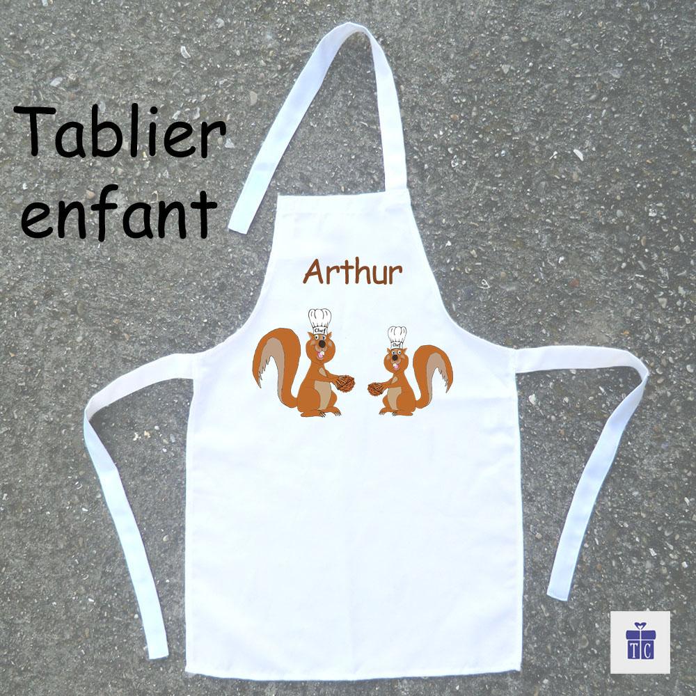 Tablier de cuisine enfant Ecureuil à personnaliser