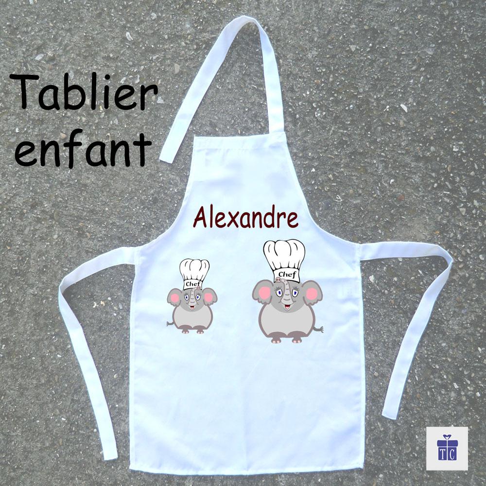 Tablier de cuisine enfant Eléphant à personnaliser