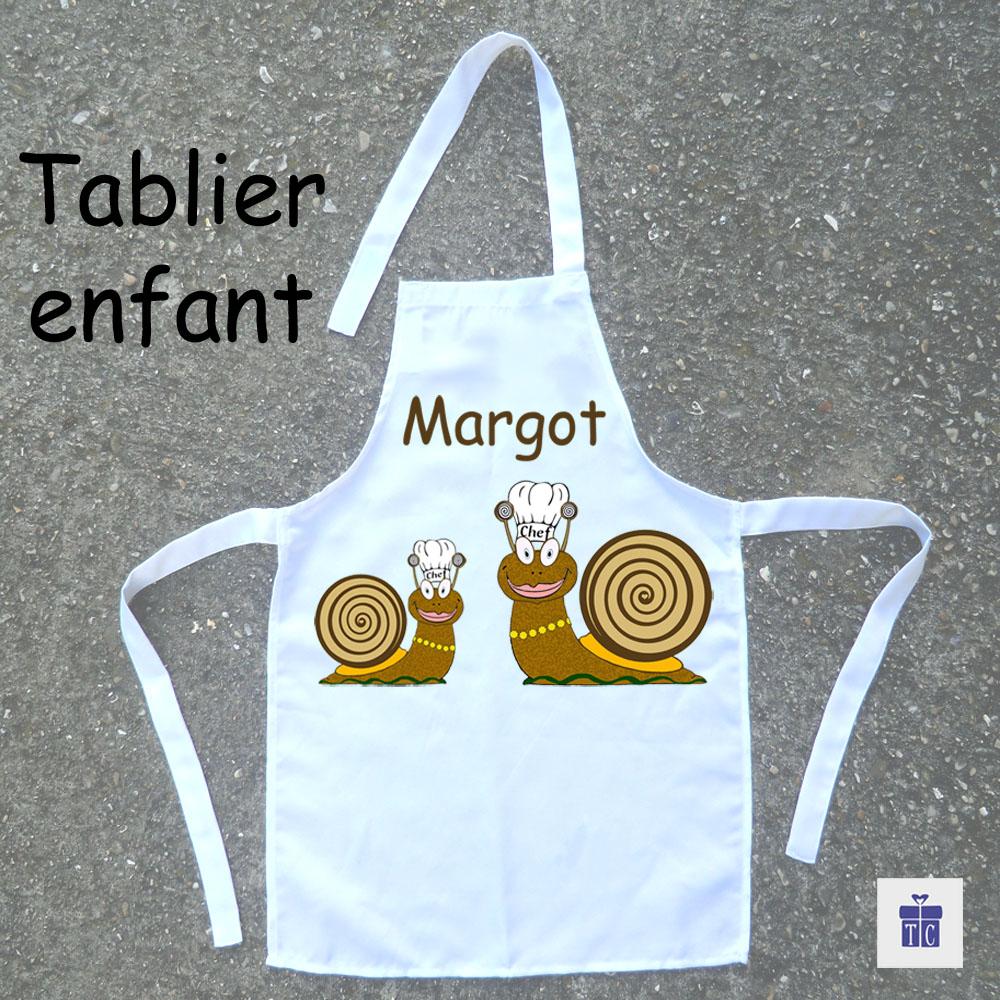 Tablier de cuisine enfant Escargot à personnaliser