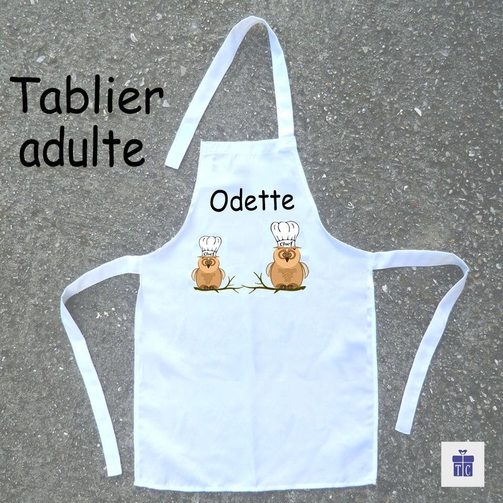 Tablier cuisine adulte Chouette à personnaliser