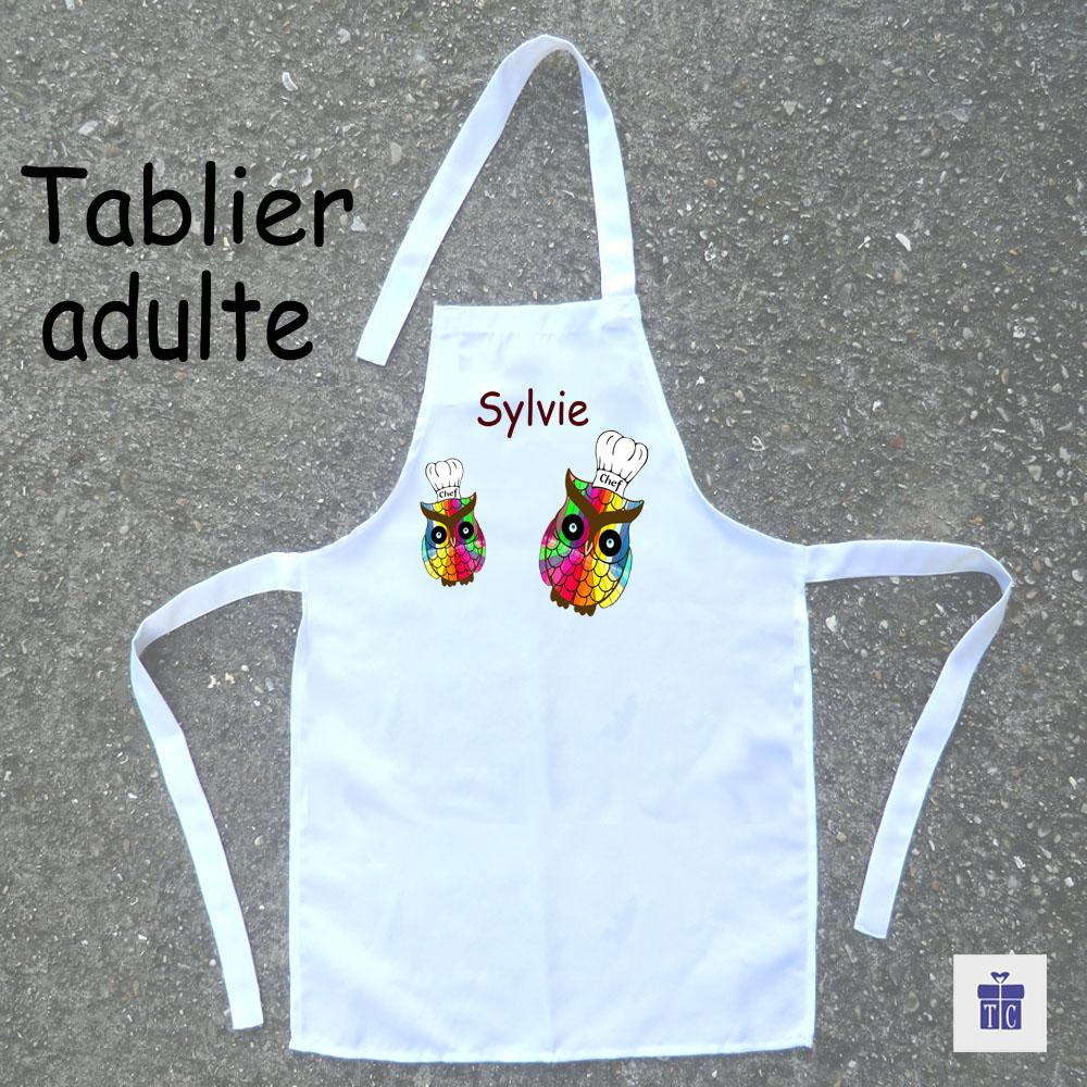 Tablier cuisine adulte Chouette multicolore