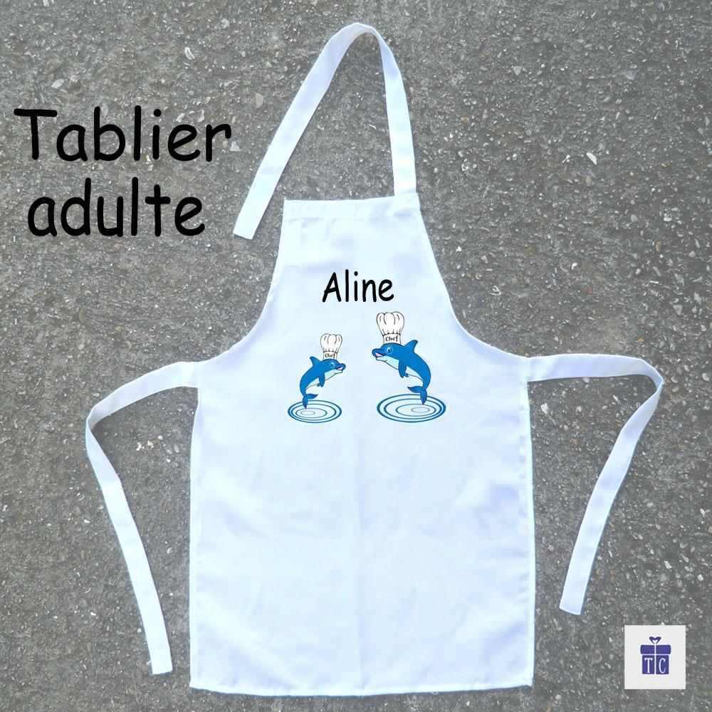 Tablier cuisine adulte dauphin à personnaliser