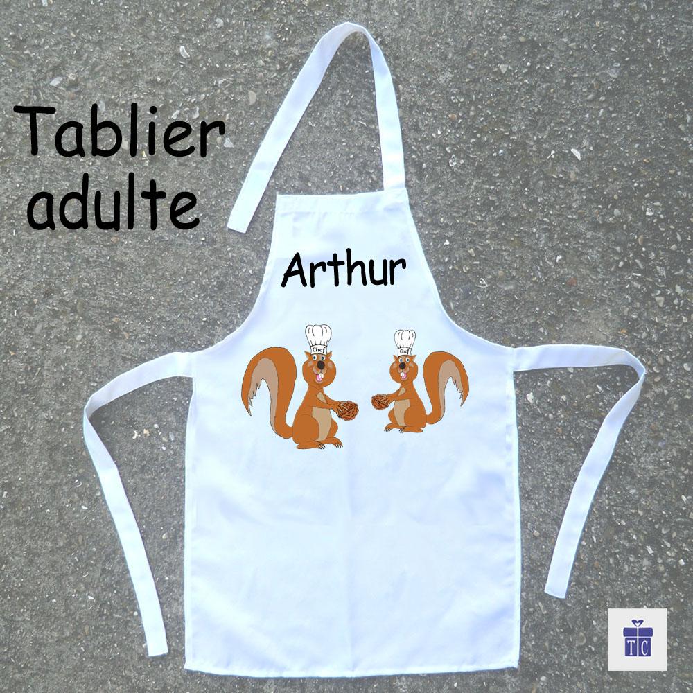 Tablier cuisine adulte écureuil à personnaliser