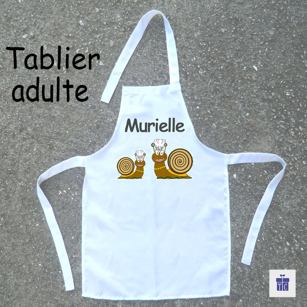 Tablier cuisine adulte Escargot à personnaliser
