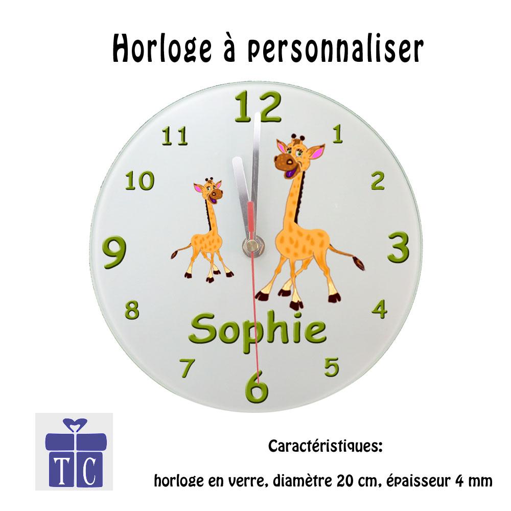 Horloge Girafe personnalisable avec un prénom