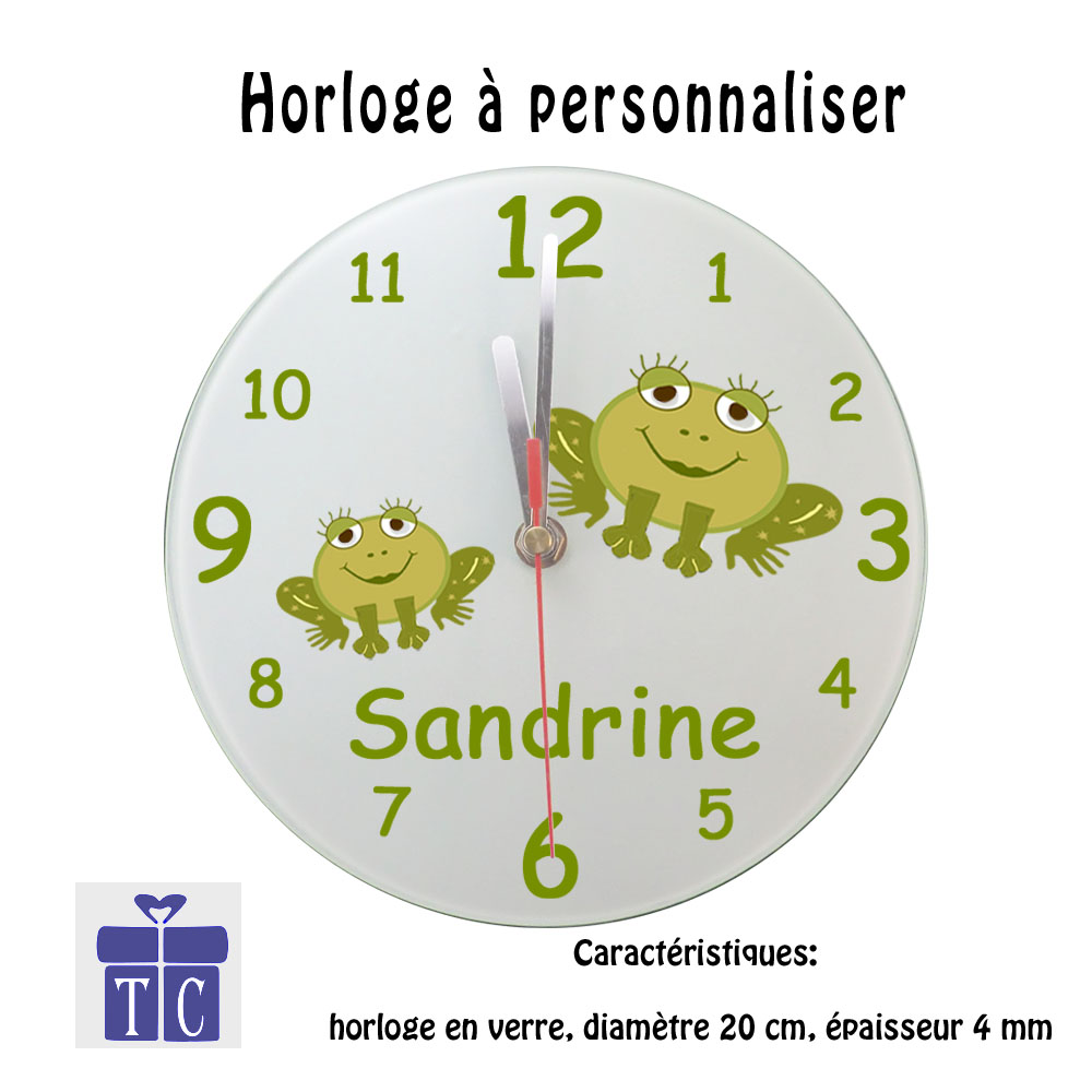 Horloge grenouille à personnaliser