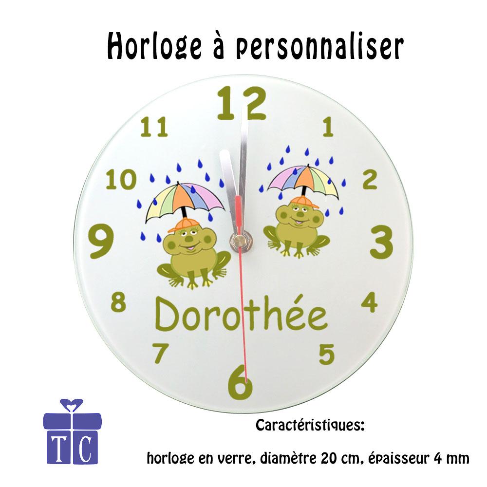 Horloge Grenouille Parapluie  à personnaliser