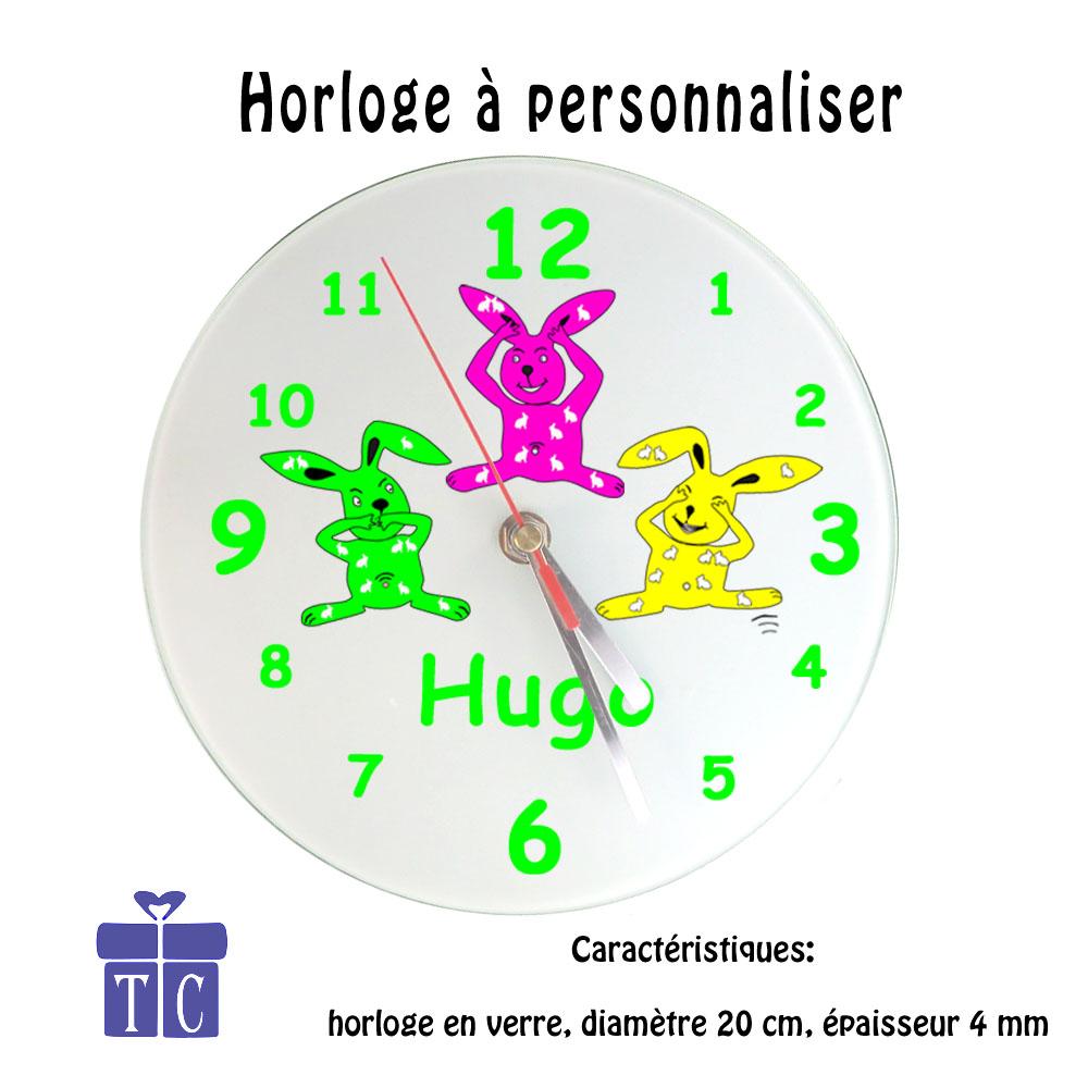 Horloge les trois Lapins à personnaliser