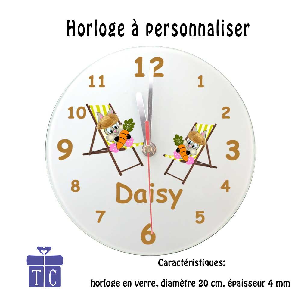 Horloge Lapin Chapeau à personnaliser