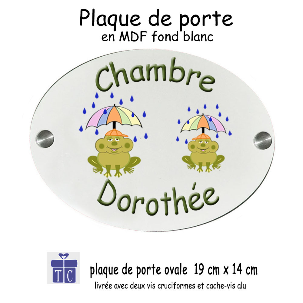 Plaque de Porte Grenouille Parapluie à personnaliser