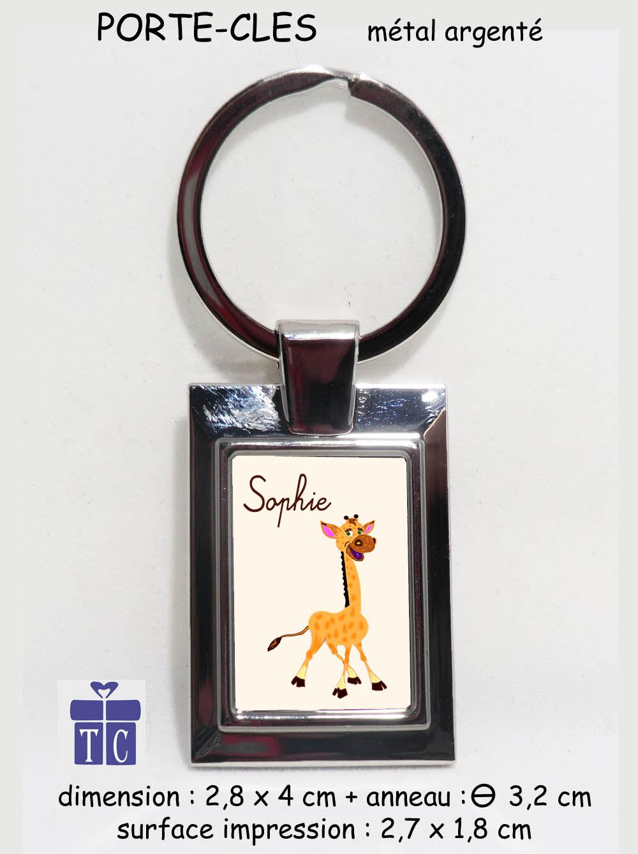 Porte clés Girafe à personnaliser