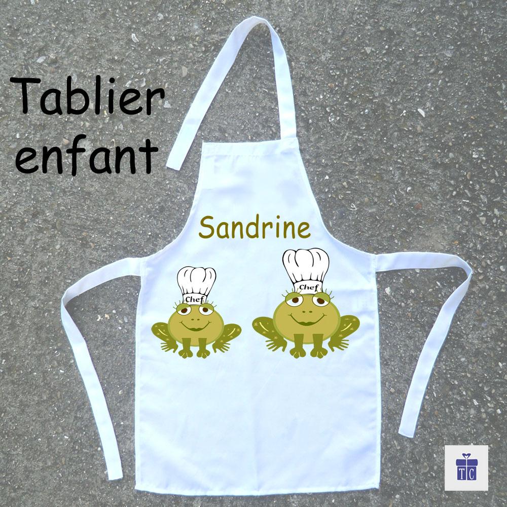 Tablier de cuisine enfant grenouille à personnaliser