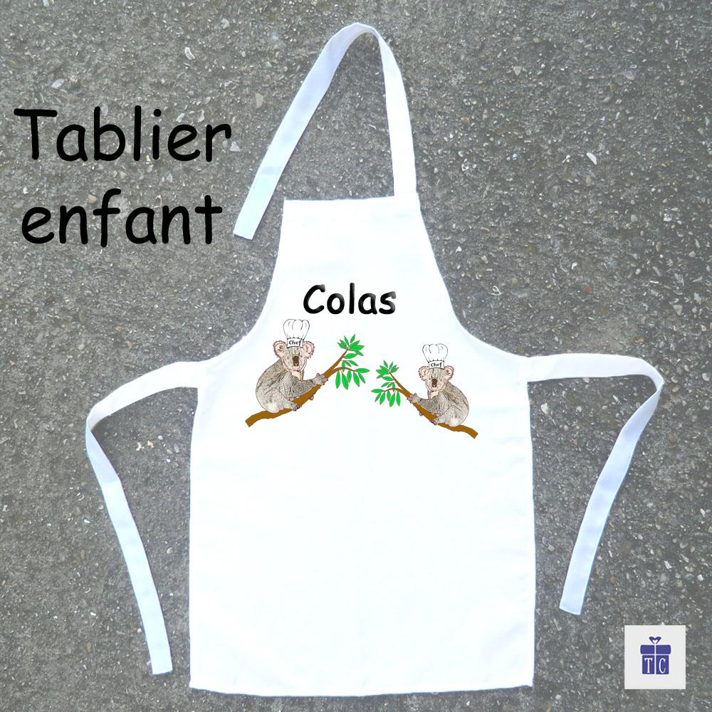 Tablier de cuisine enfant koala à personnaliser