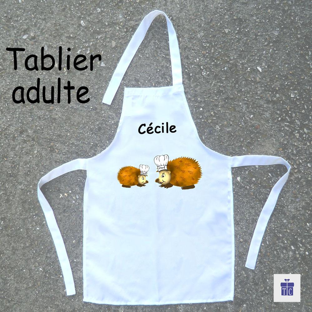 Tablier cuisine adulte hérisson à personnaliser