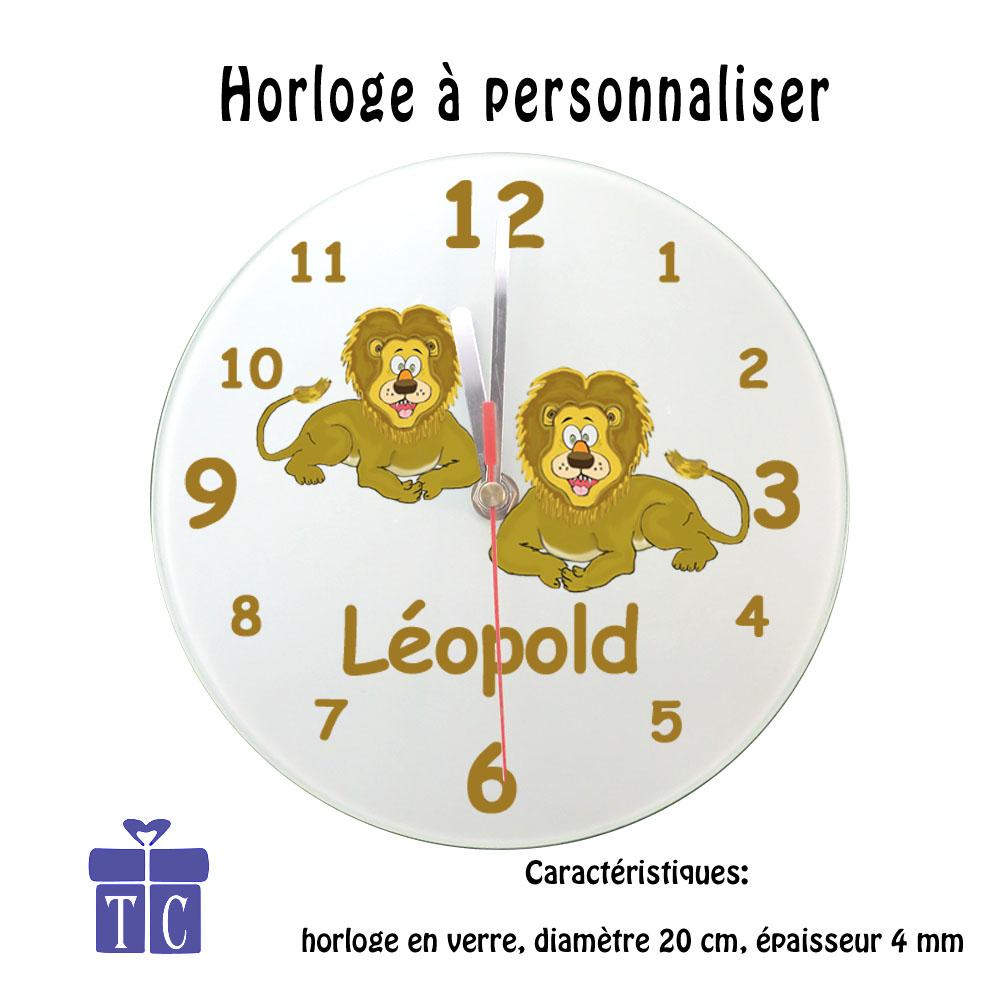 Horloge lion à personnaliser