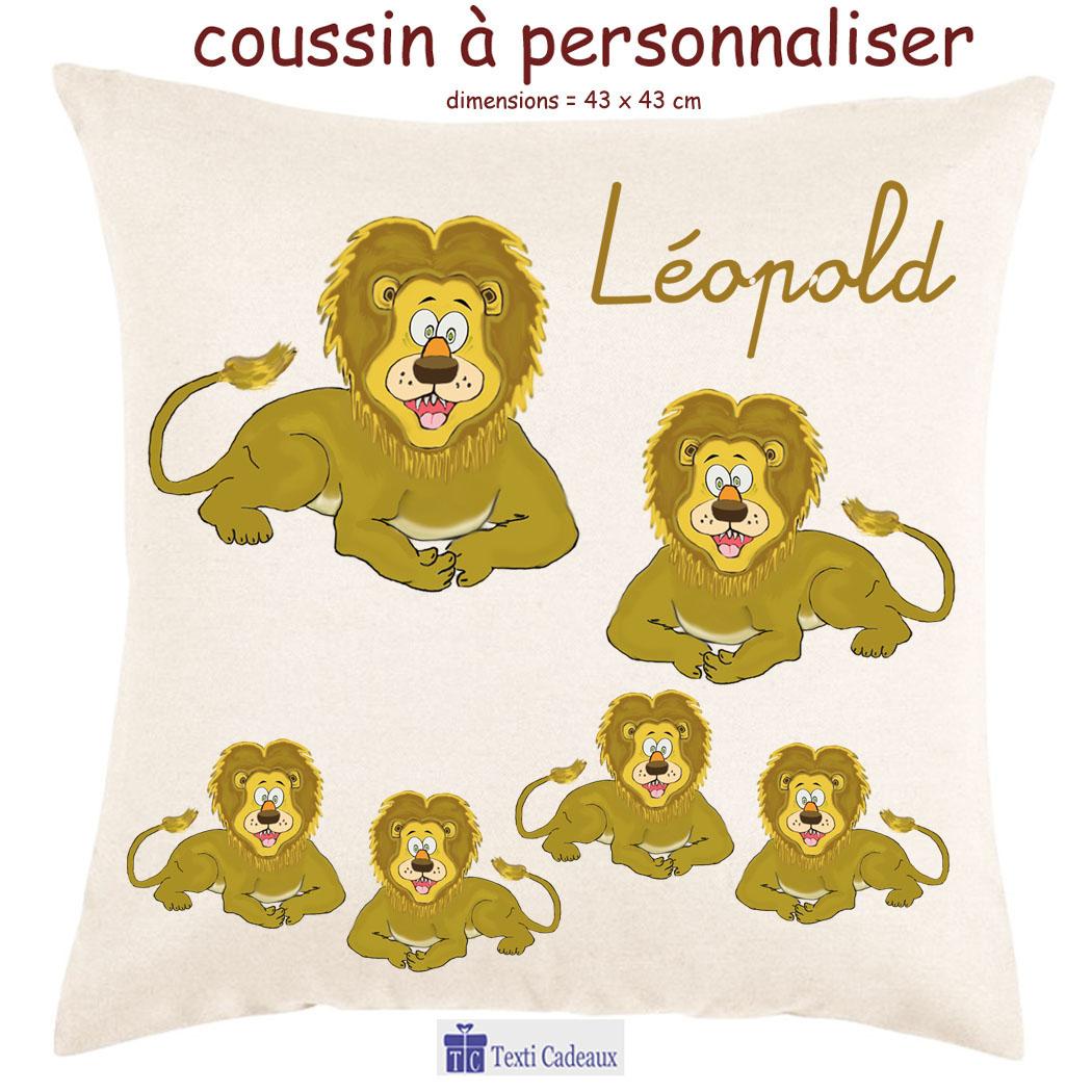 Coussin lion à personnaliser