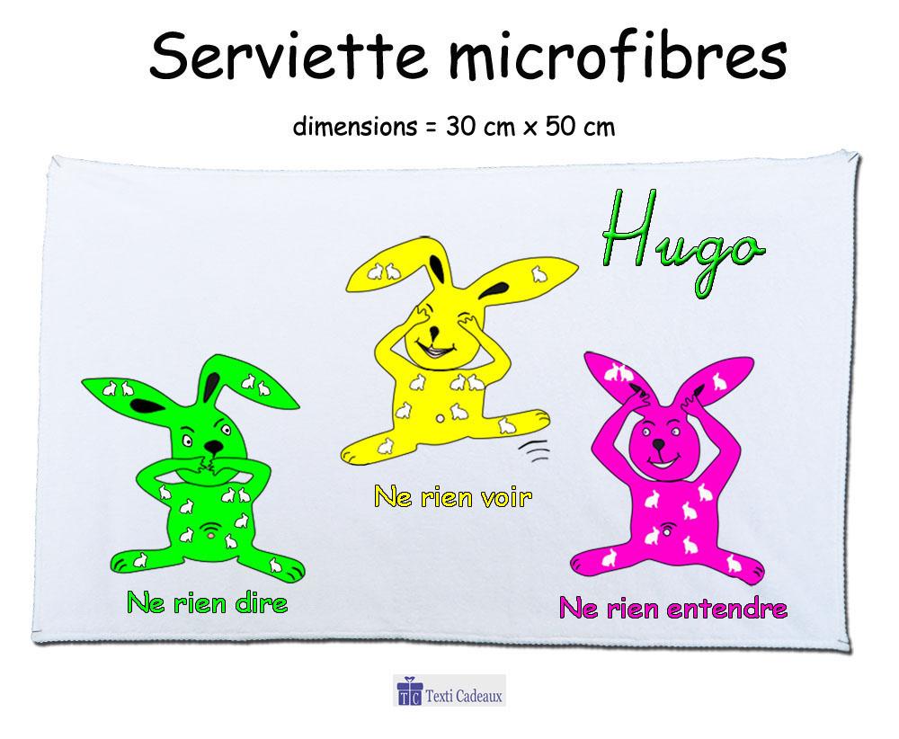 Essuie mains les trois lapins à personnaliser