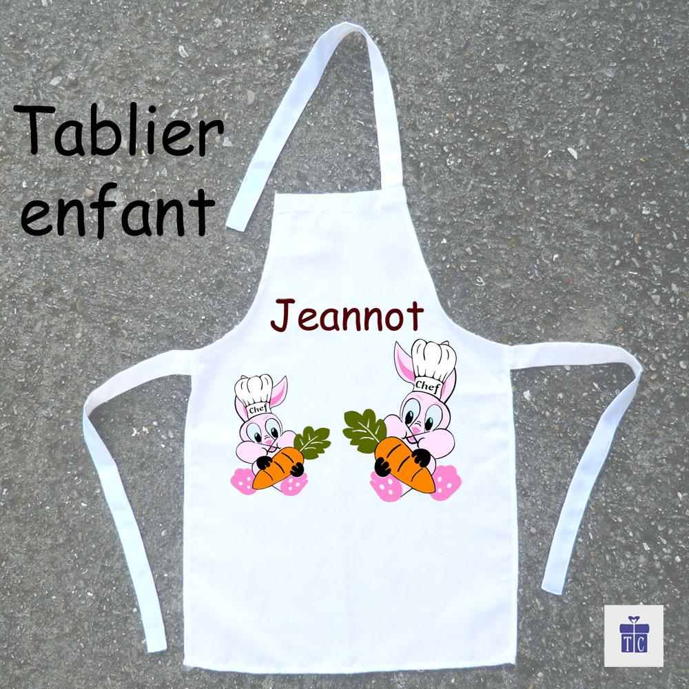 Tablier de cuisine enfant lapin à personnaliser