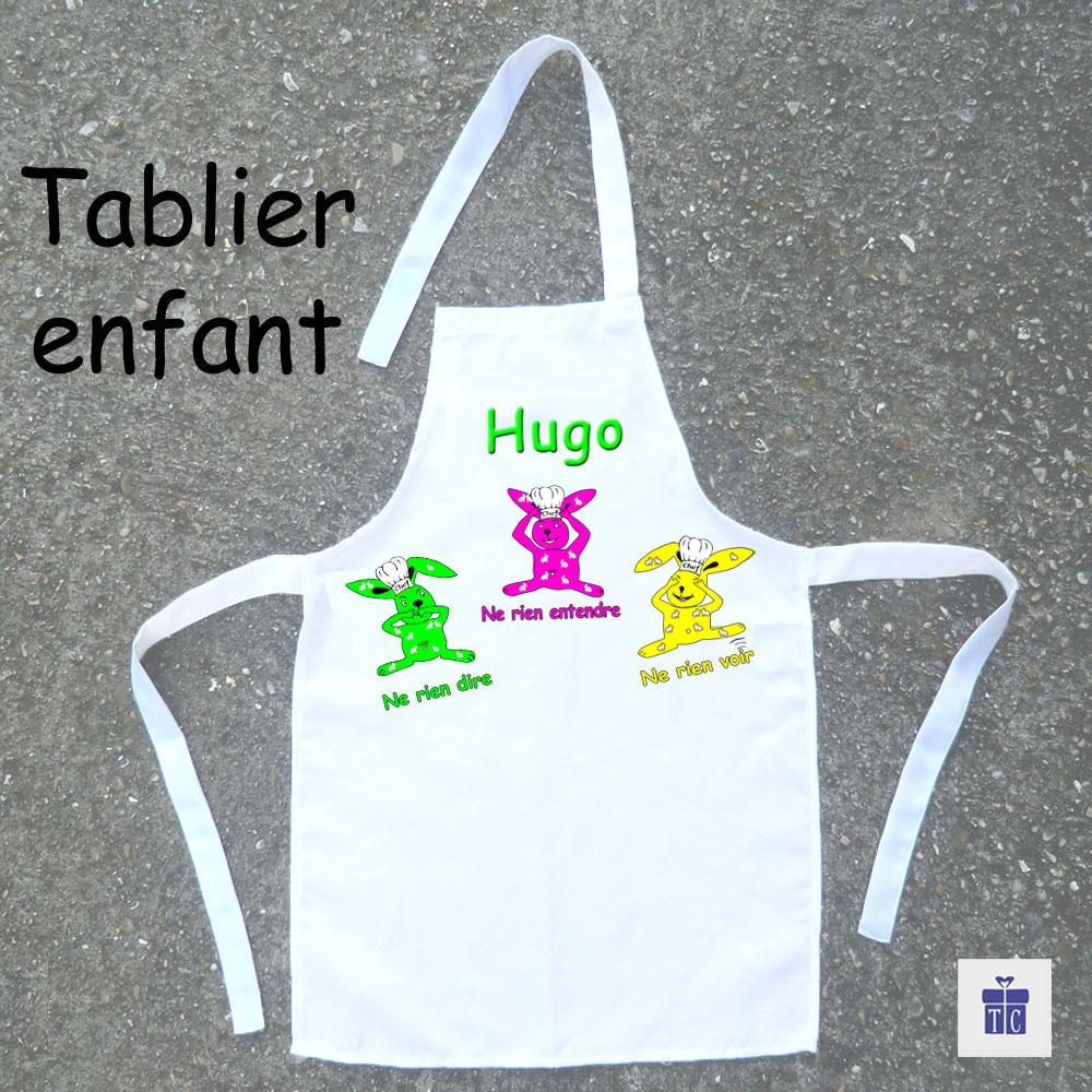 Tablier de cuisine enfant Les trois lapins à personnaliser