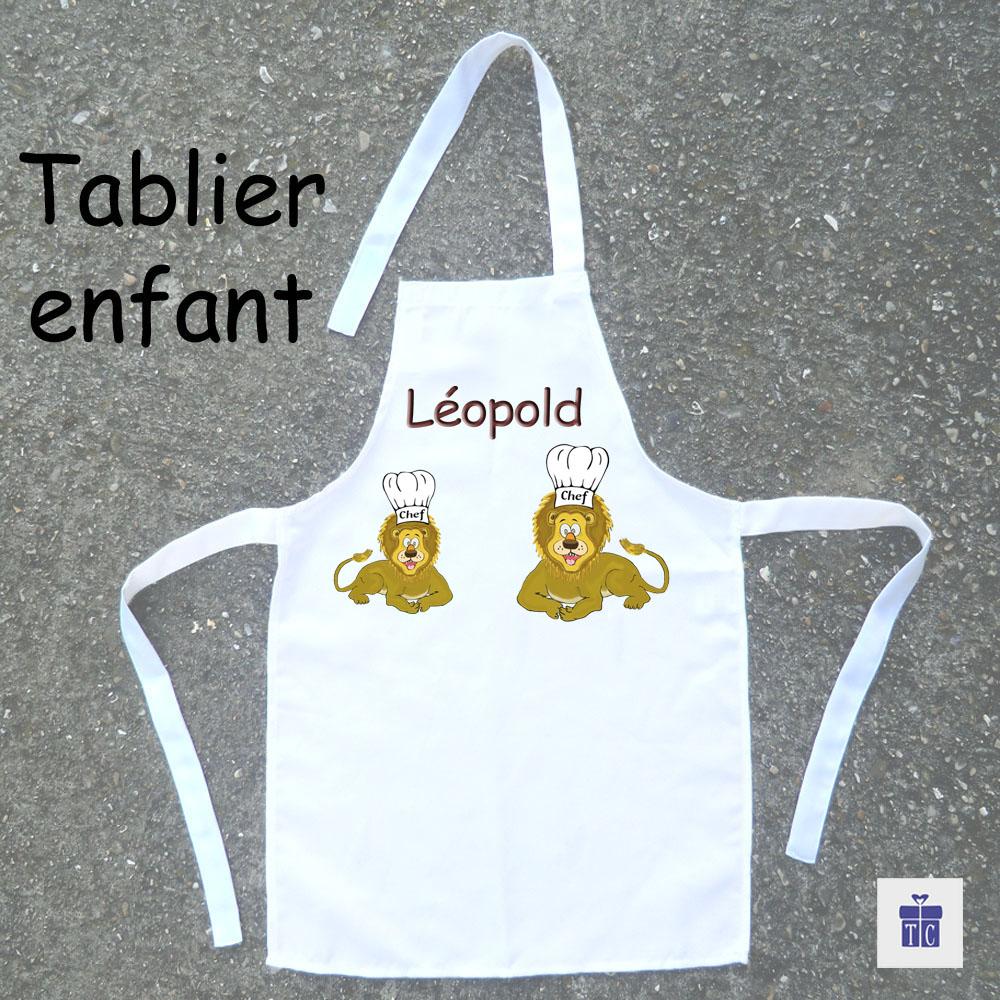 Tablier de cuisine enfant lion à personnaliser