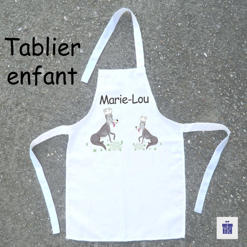Tablier de cuisine enfant loup à personnaliser