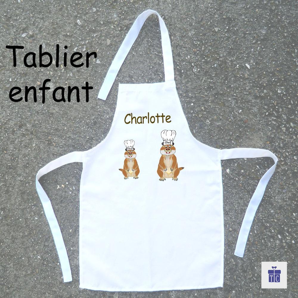 Tablier de cuisine enfant marmotte
