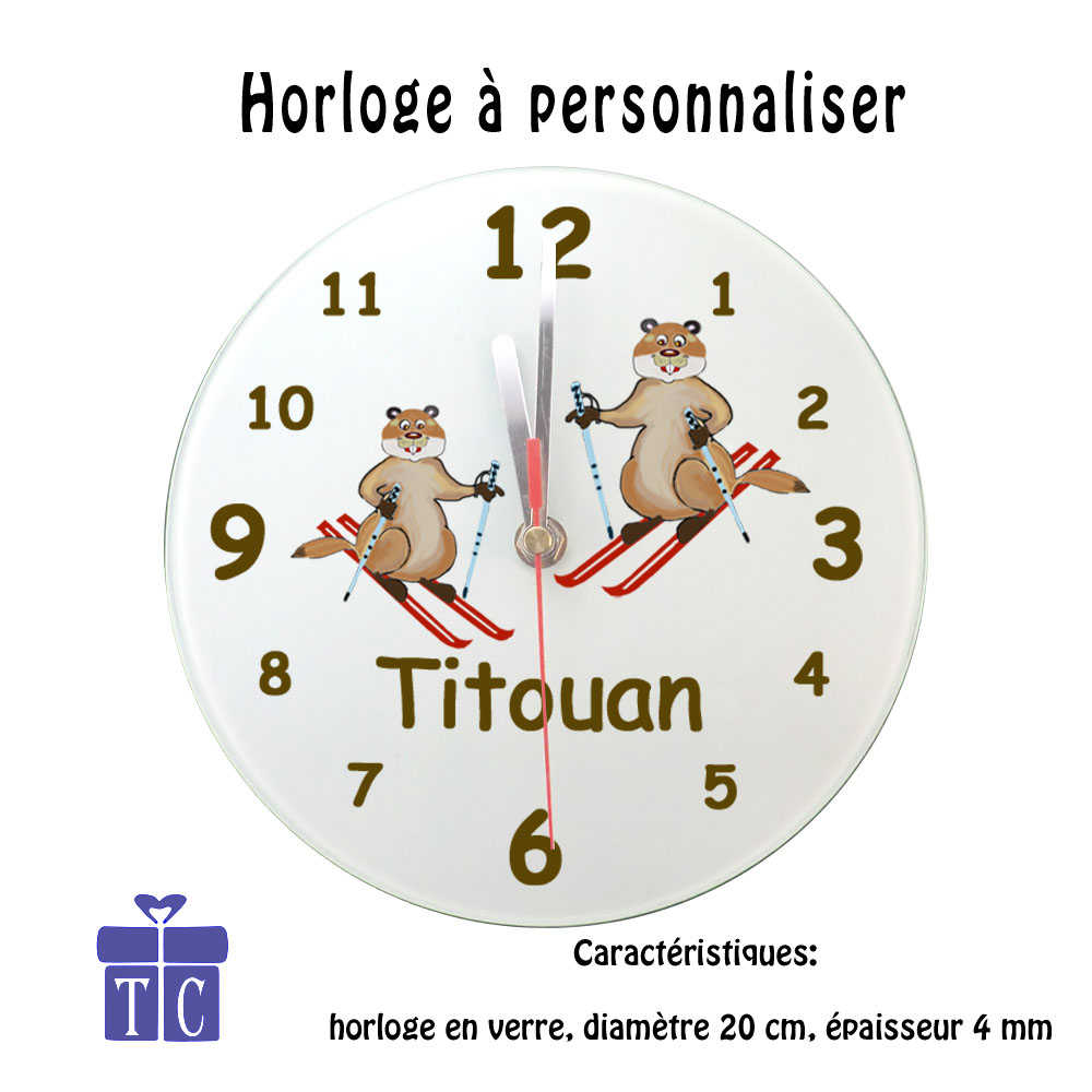 Horloge marmotte au ski
