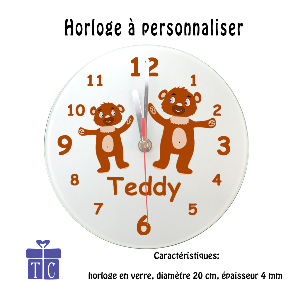 Horloge nounours à personnaliser
