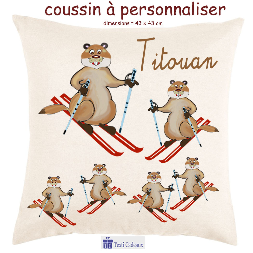 Coussin marmotte au ski