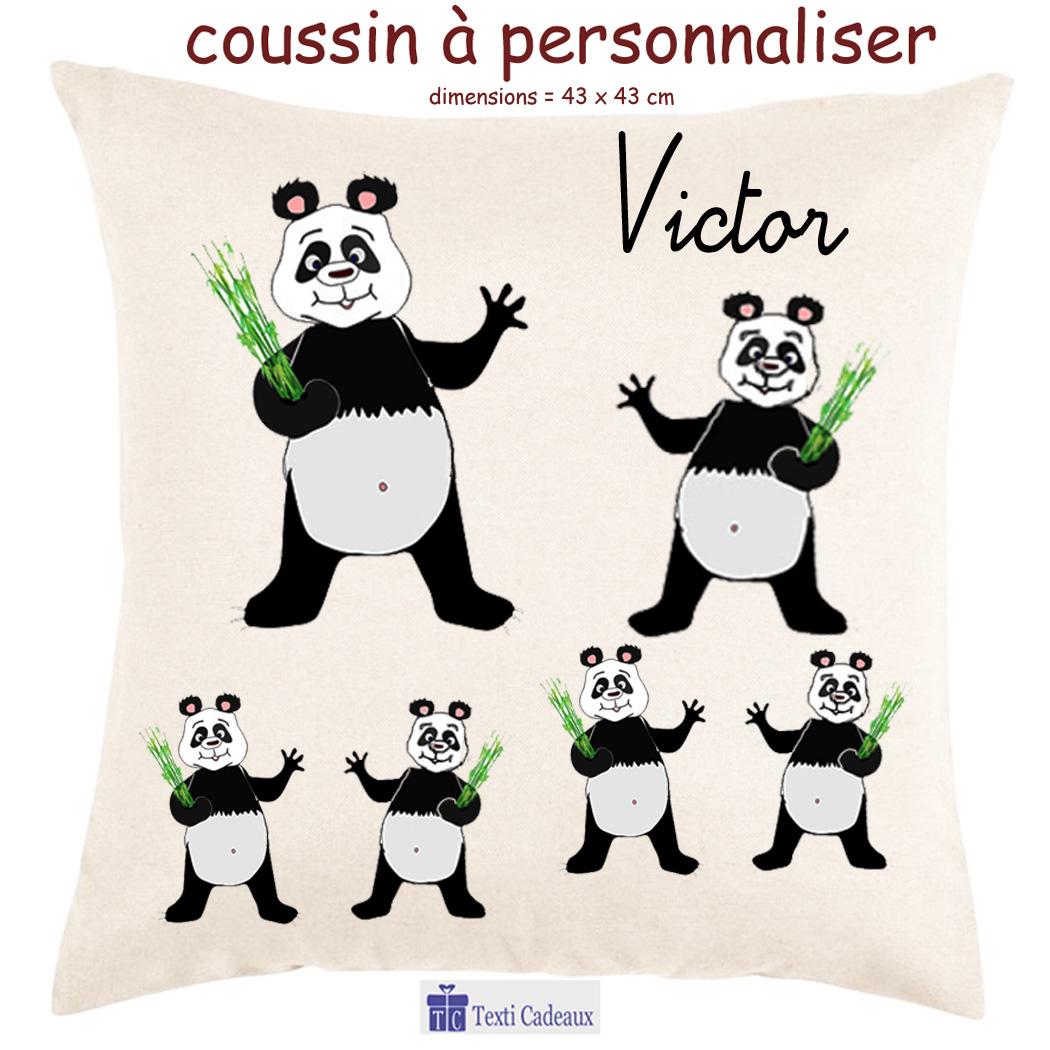 Coussin panda à personnaliser
