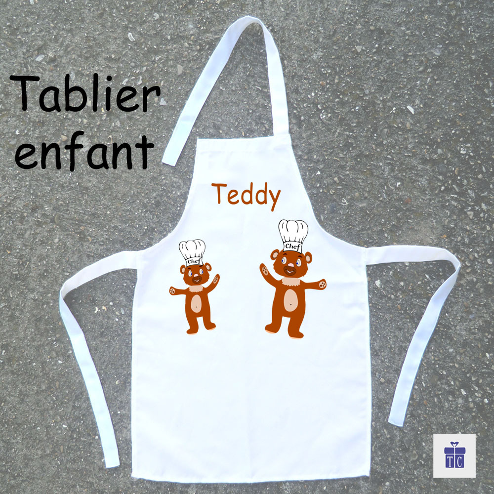 Tablier de cuisine enfant nounours à personnaliser