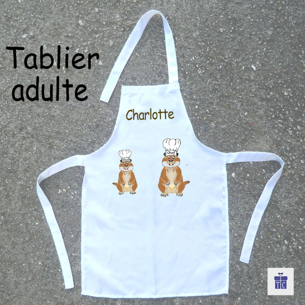 Tablier cuisine adulte marmotte à personnaliser