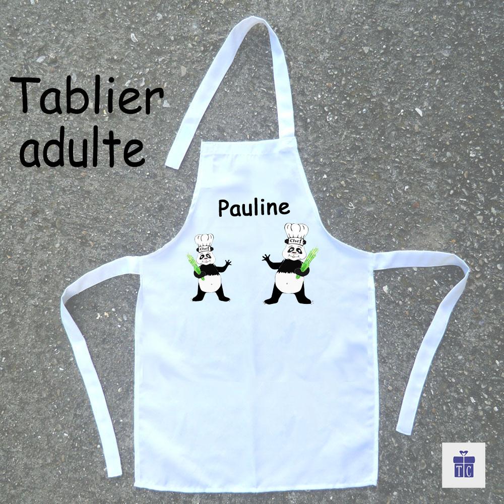 Tablier cuisine adulte panda à personnaliser