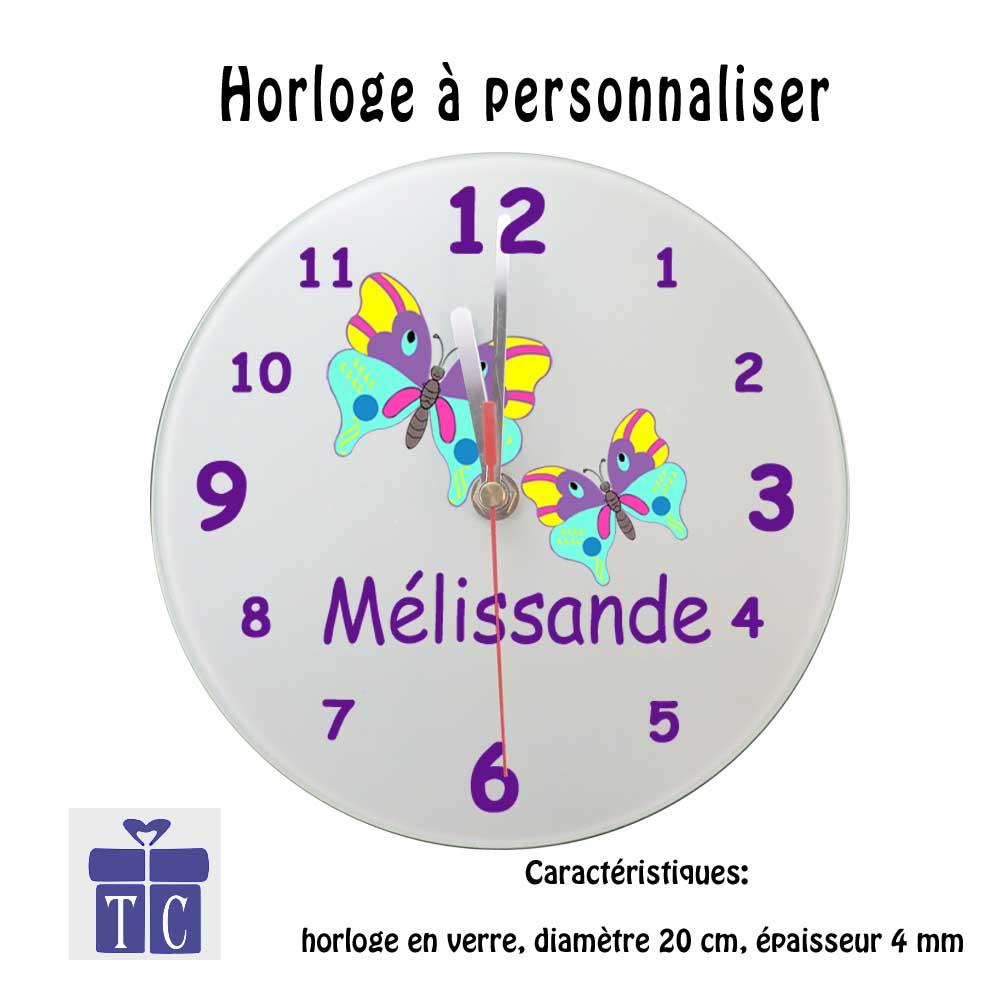 Horloge papillon à personnaliser