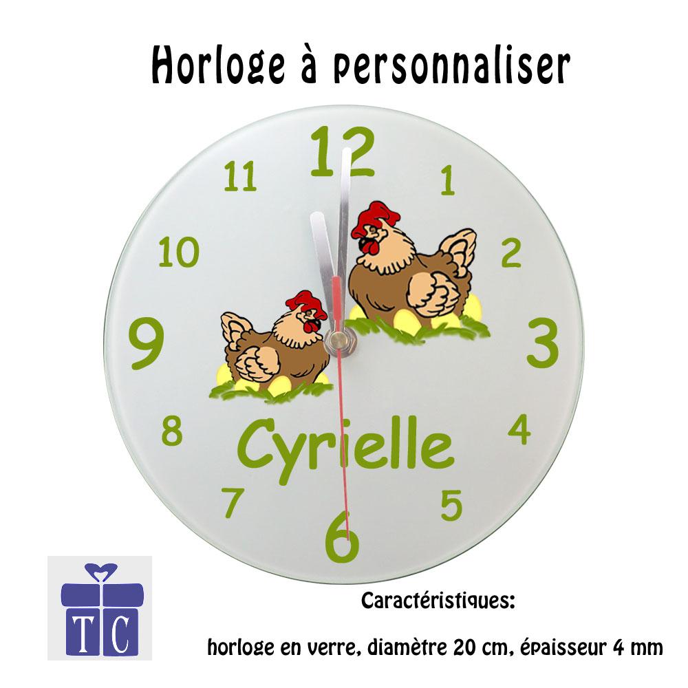 Horloge poule à personnaliser