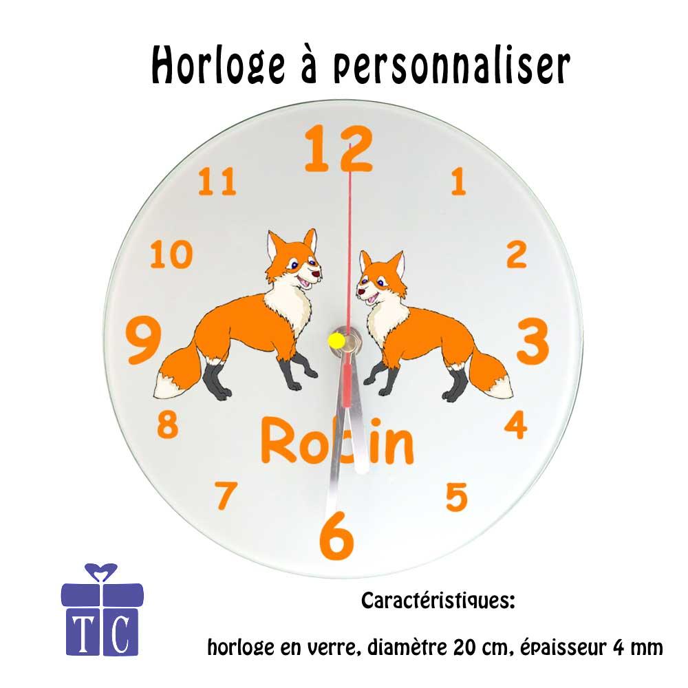 Horloge renard à personnaliser