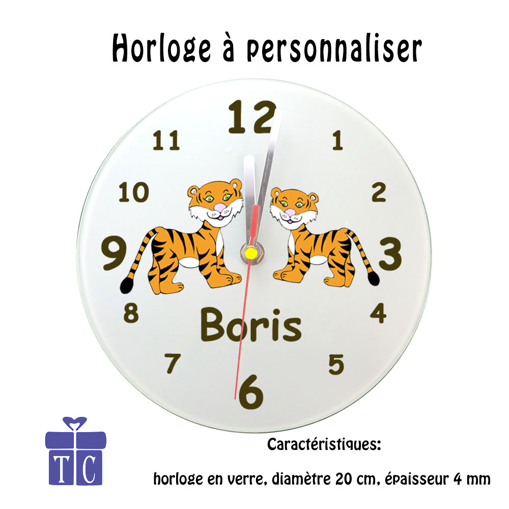 Horloge tigre à personnaliser