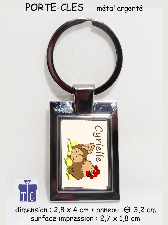 Porte clés poule à personnaliser