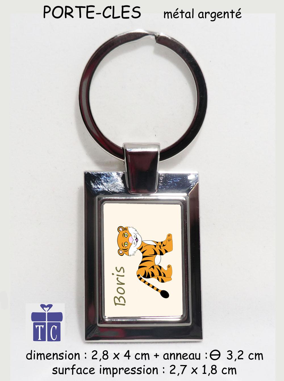 Porte clés tigre à personnaliser