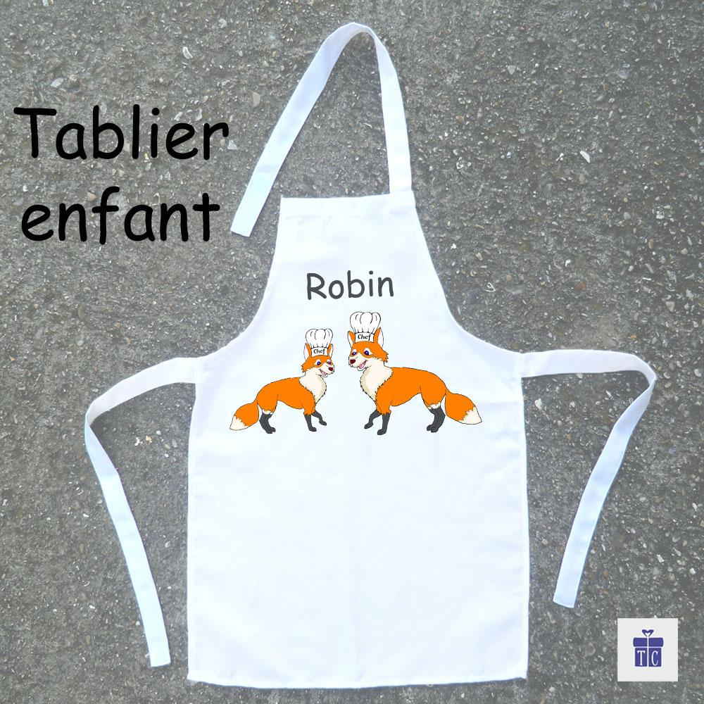 Tablier de cuisine enfant renard à personnaliser