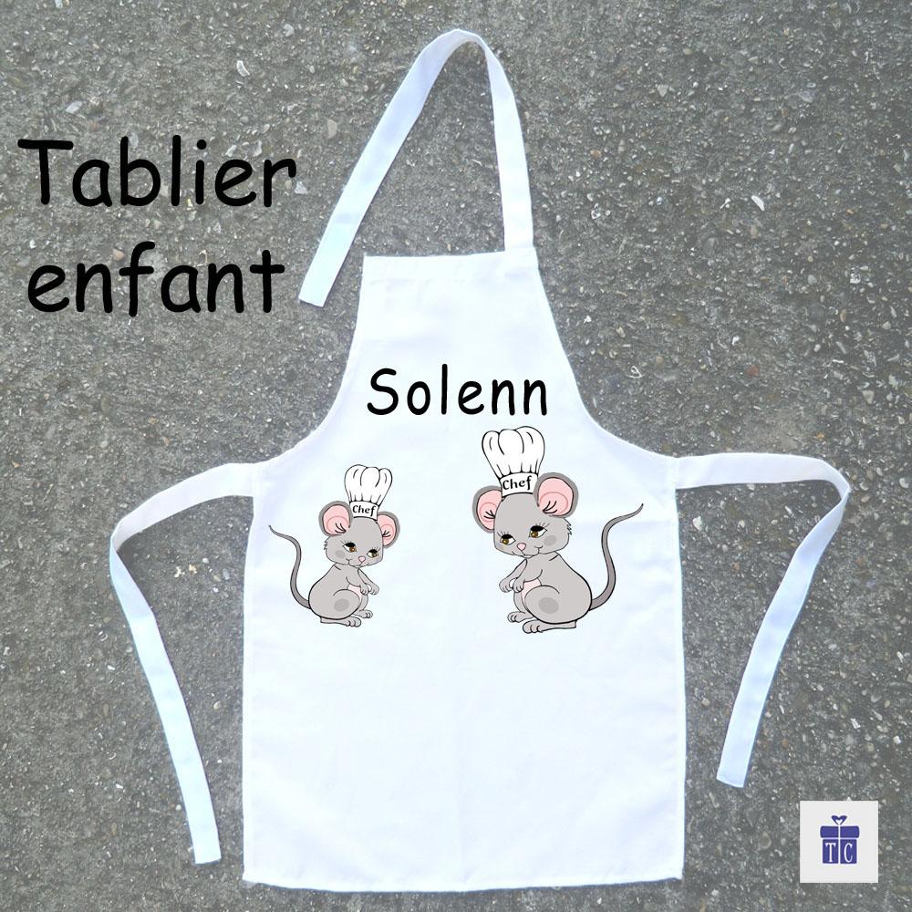 Tablier de cuisine enfant souris personnalisable avec un prénom