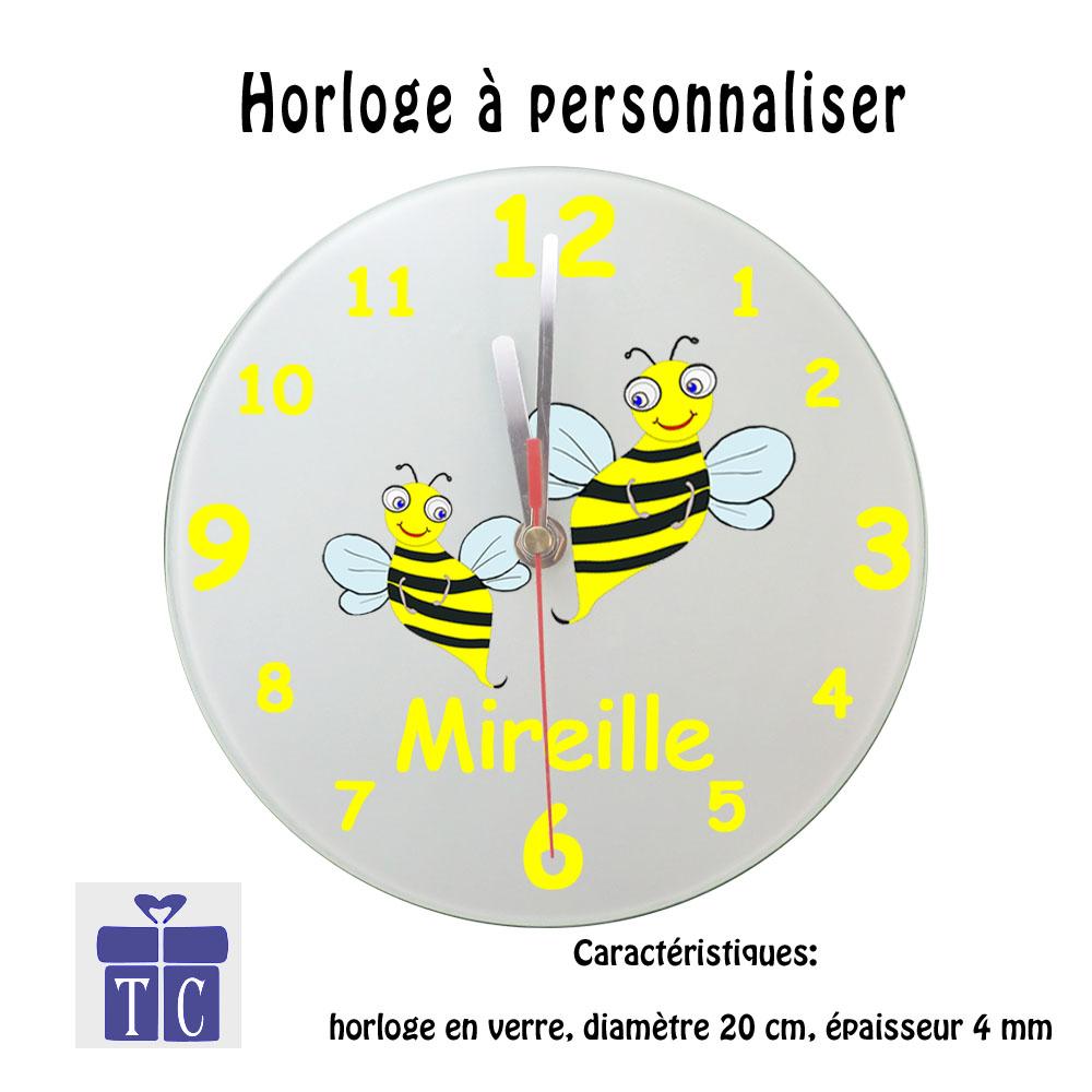 Horloge Abeille Personnalisable avec un Prénom