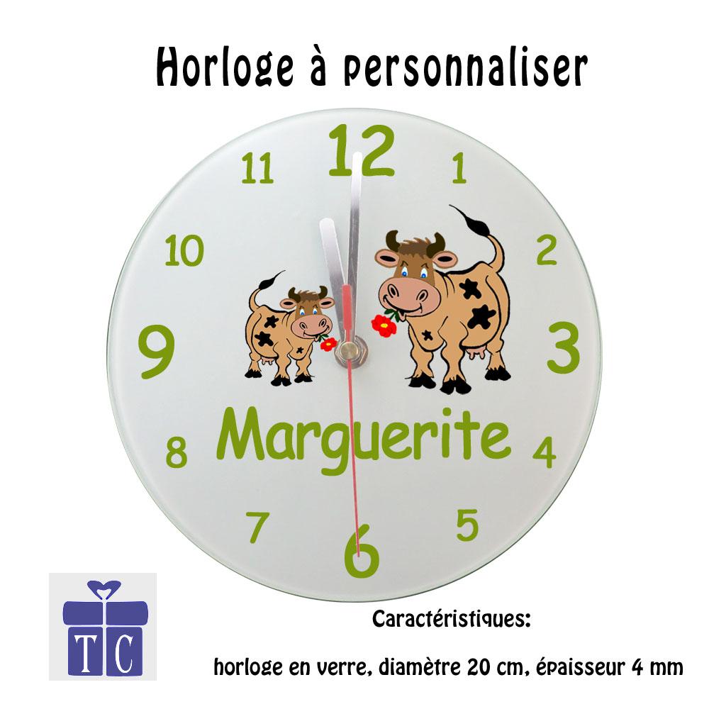 Horloge Vache Personnalisable avec un prénom