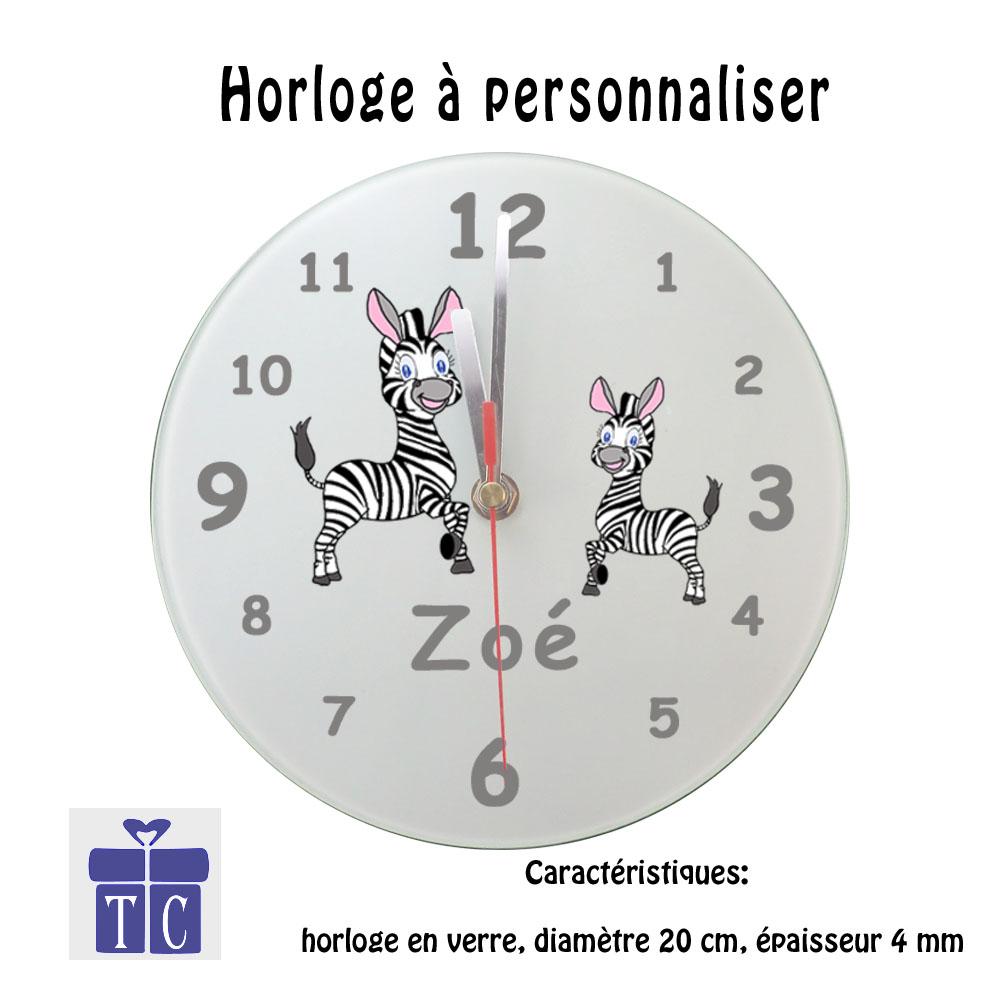 Horloge Zèbre à personnaliser