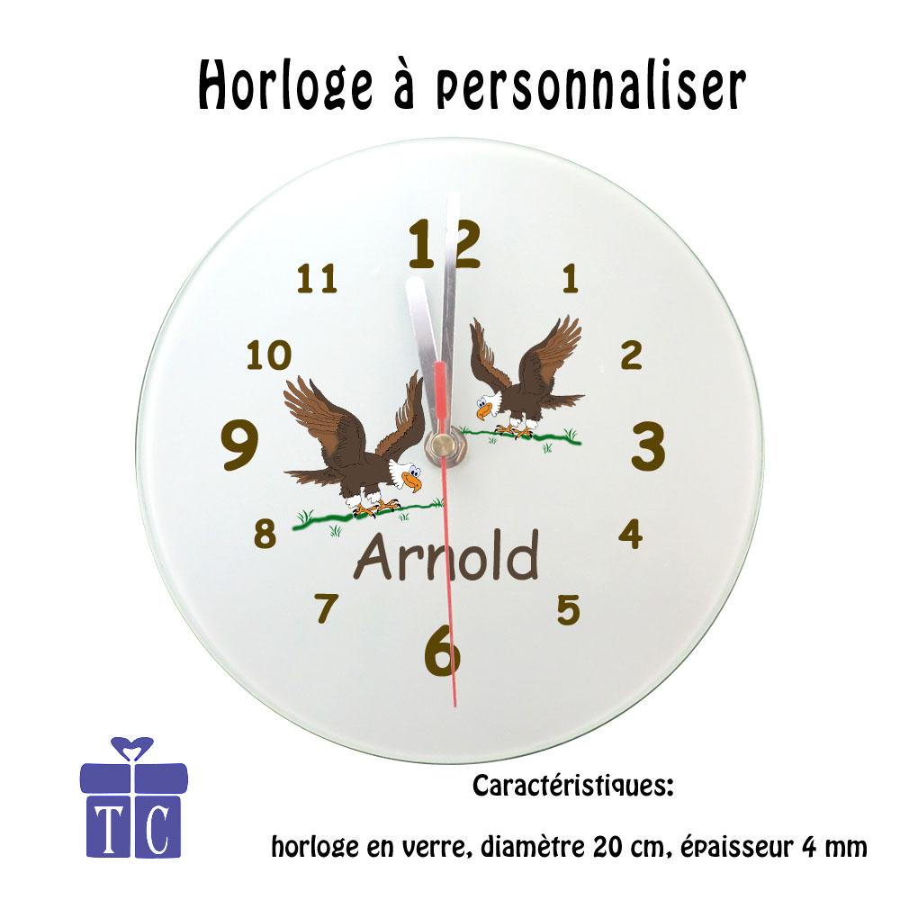 Horloge aigle personnalisable avec un prénom