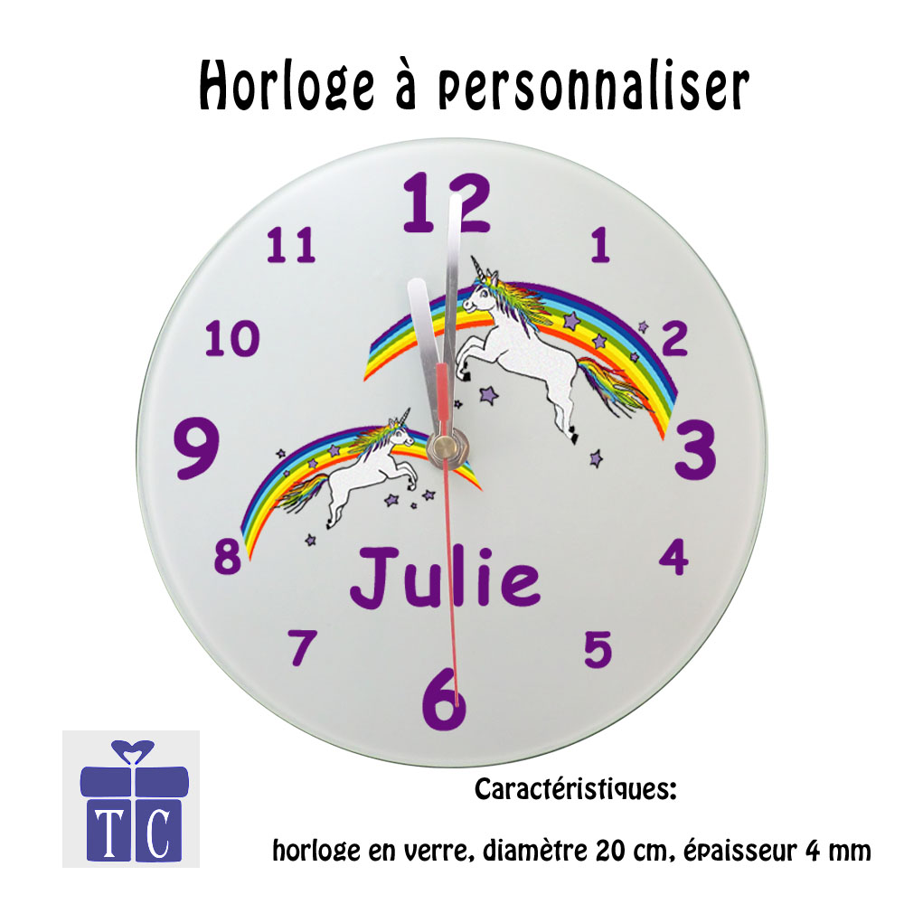 Horloge Licorne personnalisable avec un prénom